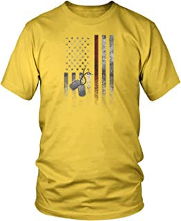Amdesco Men's American Flag with Dog Tags T-Shirt