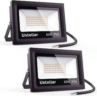 Ustellar 2 Pack 60W LED Flood Light, IP66 Waterproof, Outdoor Super Bright Security Lights