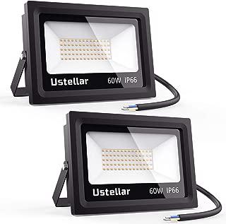 Ustellar 2 Pack 60W LED Flood Light, IP66 Waterproof, Outdoor Super Bright Security Lights, 300W Halogen Bulb Equivalent, 2700K Warm White, Floodlight Landscape Wall Lights