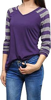 Allegra K Women's Striped Baseball Tee V Neck T-Shirts Long Raglan Sleeve Top