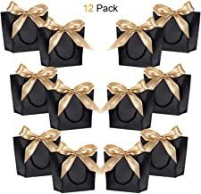Gift Bags with Handles- WantGor 8.6x6.3x2.7inch Paper Party Favor Bag Bulk with Bow Ribbon for Birthday Wedding/Bridesmaid Celebration Present Classrooms Holiday(Matte Black, Small- 12 Pack)