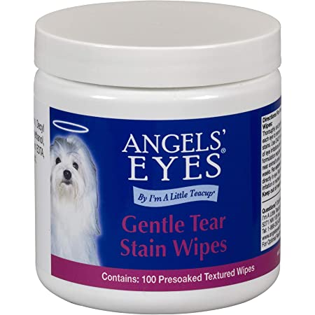 Angels' Eyes Gentle Tear Stain Wipes for Dogs and Cats - 100 Ct - Presoaked Textured