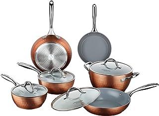COOKSMARK 鍋・フライパンミックスセット IH対応オール熱源対応 ガラス鍋蓋付 キラキラな光沢感 セラミックコーティング 10点セット ブラウン 内面グレー