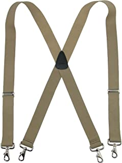 CTM Men's Big & Tall Elastic Solid Color X-Back Suspender with Swivel Hook Ends