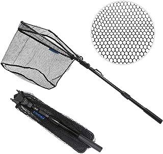 SAN Like Folding Fishing Net - Rubber Coated Fish Landing Net Telescopic Pole Extend to 38.6inch 71inch 75.6inch