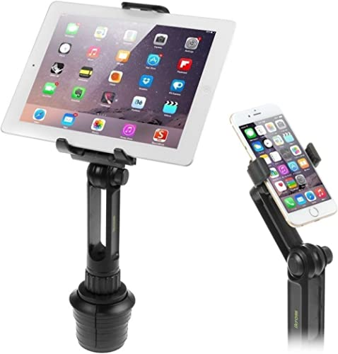 Cup Mount Holder iKross 2-in-1 Tablet and Smartphone Adjustable Swing Cradle with Extended Cup Car Mount Holder Kit f...