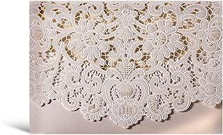 50 WISHMADE White Ivory Laser Cut Wedding Invites, Printable Blank Invitation Pocket with Envelope, for Engagement Bridal Shower Wedding Anniversary