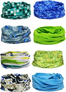 kilofly Multi-purpose Seamless Headwear Bandanas Mixed Set Value Pack [Set of 8]
