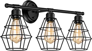 Industrial Bathroom Vanity Light 3 Lights, Elibbren Vintage Metal Cage Wall Sconce, Rustic Farmhouse Vanity Wall Light Fixture
