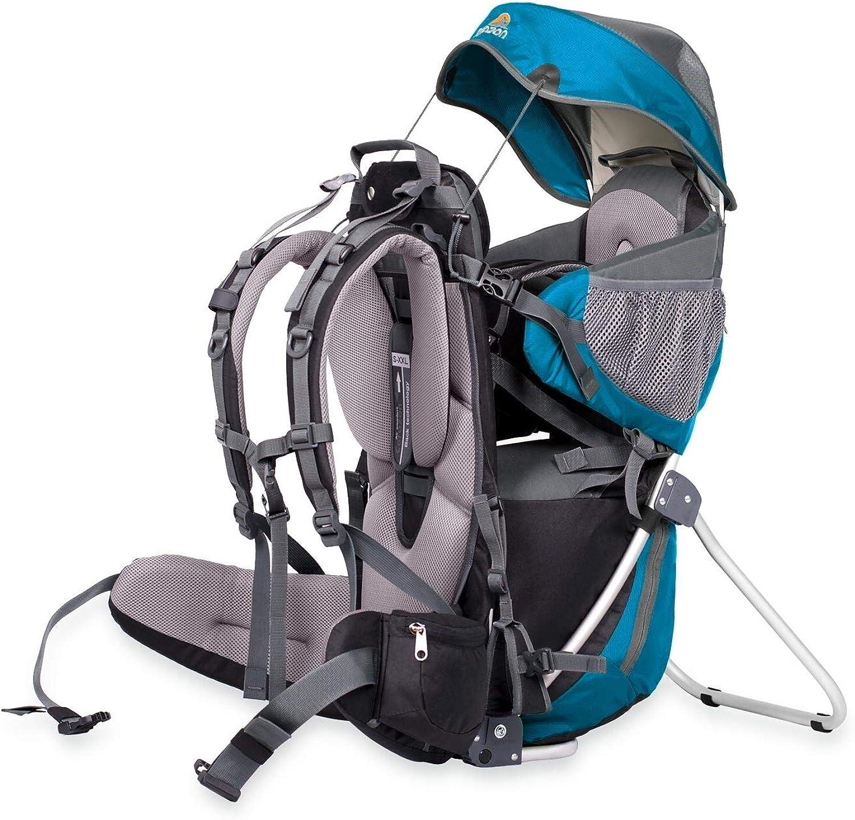 CORAZON PANDA KINTERTRAGERUCKSACK (KRAXE) Kindertragerucksack mit Rahmen – für das Tragen in der Stadt - einschlielich - Sonnendach, Steigbügel – maximaler Komfort, maximale Sicherheit