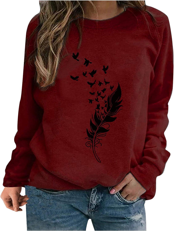 Women Long Sleeve Tops,Women Casual Tie Dye Sweatshirt Long Sleeve Crewneck Pullover Top Loose Soft Tshirts
