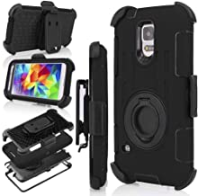 S5 Case, Galaxy S5 Holster case, J.west Hybrid Dual Layer Combo Armor Defender Protective Case With Kickstand + Belt Clip Holster For Samsung Galaxy S5 (Black)