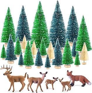 SAPU 25 Pcs Bottle Brush Trees Set, Diorama Trees Mini Sisal Christmas Trees with Christmas Wreaths for Christmas Table De...