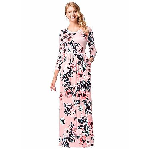 107bf42ecdc Las Mujeres de impresión Floral de Manga Larga Boho Vestido de Damas de  Noche Party Maxi