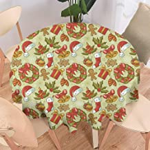 Merry Christmas,Christmas Round Tablecloth,Home Round Tablecloth,Wrinkle Free Tablecloth,Christmas,Jolly New Year Celebration in Old Times Vintage Collection of Iconic Objects-70