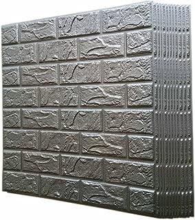 Silver Grey 3D Foam Brick Wallpaper Wall Panels Peel Stick by POPPAP 12 Tiles