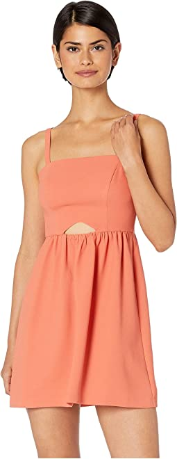 Cocktail Front Cut Out Flutter Woven Dress