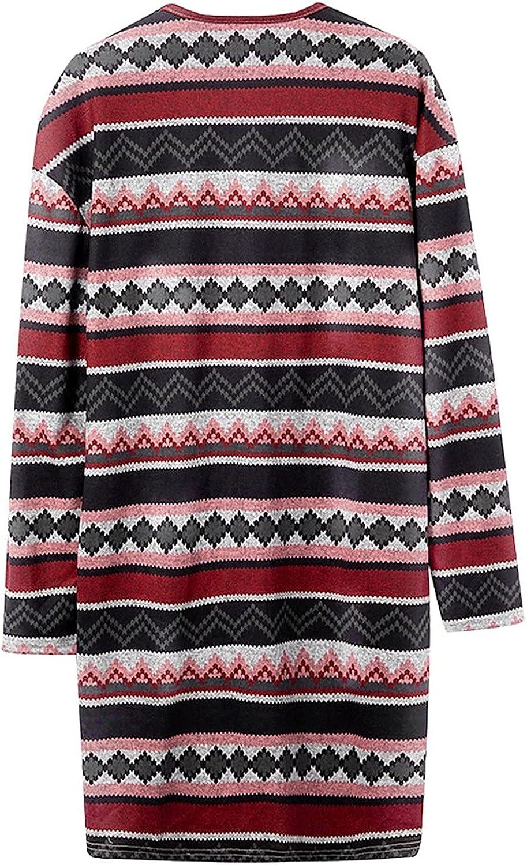 Women's Open Front Cardigan Loose Drape Long Sleeve Lightweight Coat Outerwear with Pockets