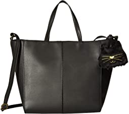 Tote with Plush Cat Dangle