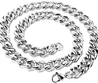 Fashion Mens Necklace Silver Stainless Steel Curb Cuban Chain 9mm,11mm,13mm,15mm Width;16-40 inch Length