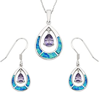 Sterling Silver Created Opal & CZ Teardrop Earrings and Pendant Set with 18