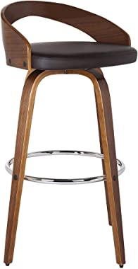 "Armen Living Sonia Multi Color Options Faux Leather Swivel Kitchen Barstool With Walnut Wood Finish and Chrome Footrest, 26"" Counter Height, Brown"