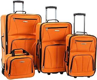 Rockland Luggage Skate Wheels 4 Piece Luggage Set, Orange