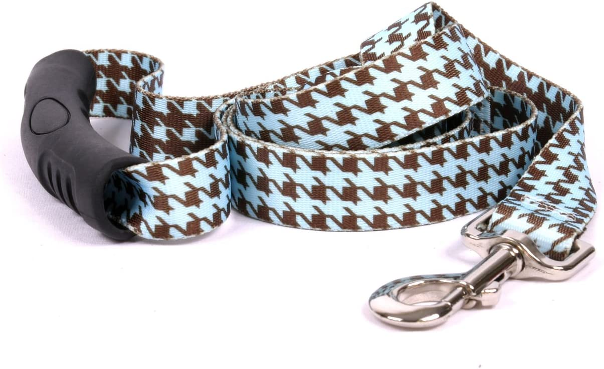 Yellow Dog Direct stock discount Design Hounds Tooth EZ-Grip half Leash Brown and Blue
