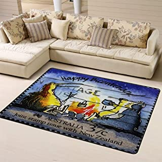 Sports Area Rug Floor Rug Australia Circa 1988 Stamp Printed in Showing Happy Bicentenary with Funny Caricature Ofnon-Slip Doormat for Living Dining Dorm Room 60