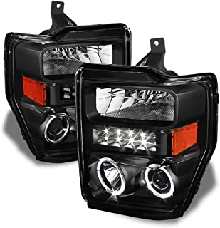 ACANII - For Black 2008-2010 Ford F250 F350 Superduty LED Halo Projector Headlights Headlamps Driver + Passenger Side