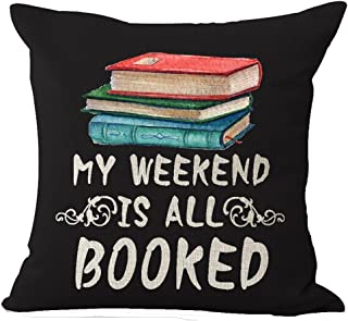 Book Lover Reading Book Club My Weekend Is All Booked Black Background Cotton Linen Decorative Throw Pillow Case Cushion Cover Square 18