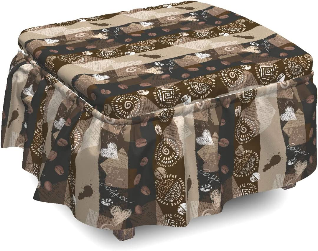 Ambesonne Brown Ottoman Cover Coffee Beans Piece Typo Long-awaited Max 40% OFF 2 Hearts