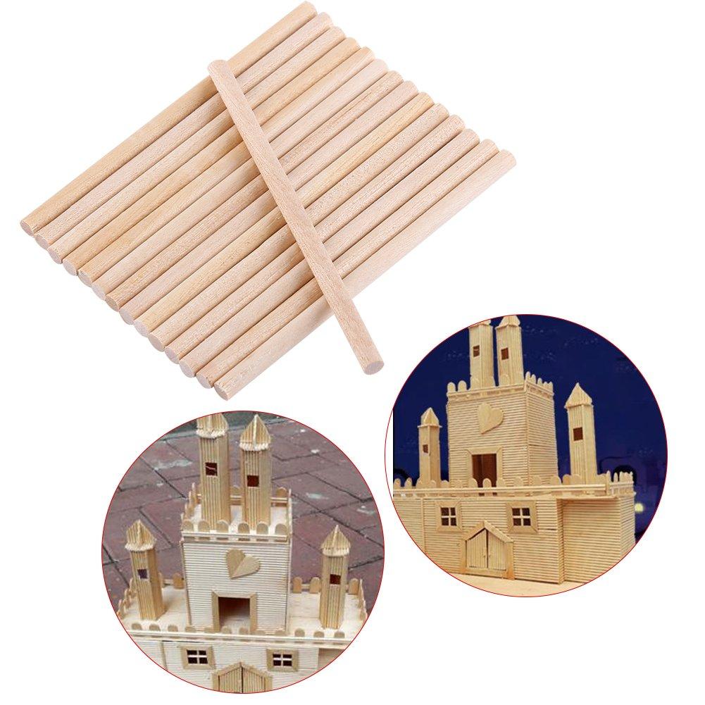 jard/ín para artesan/ía de madera,bricolaje decoraci/ón modelo de Edificio casa Akozon Palos de madera redondos 100pcs 80mm
