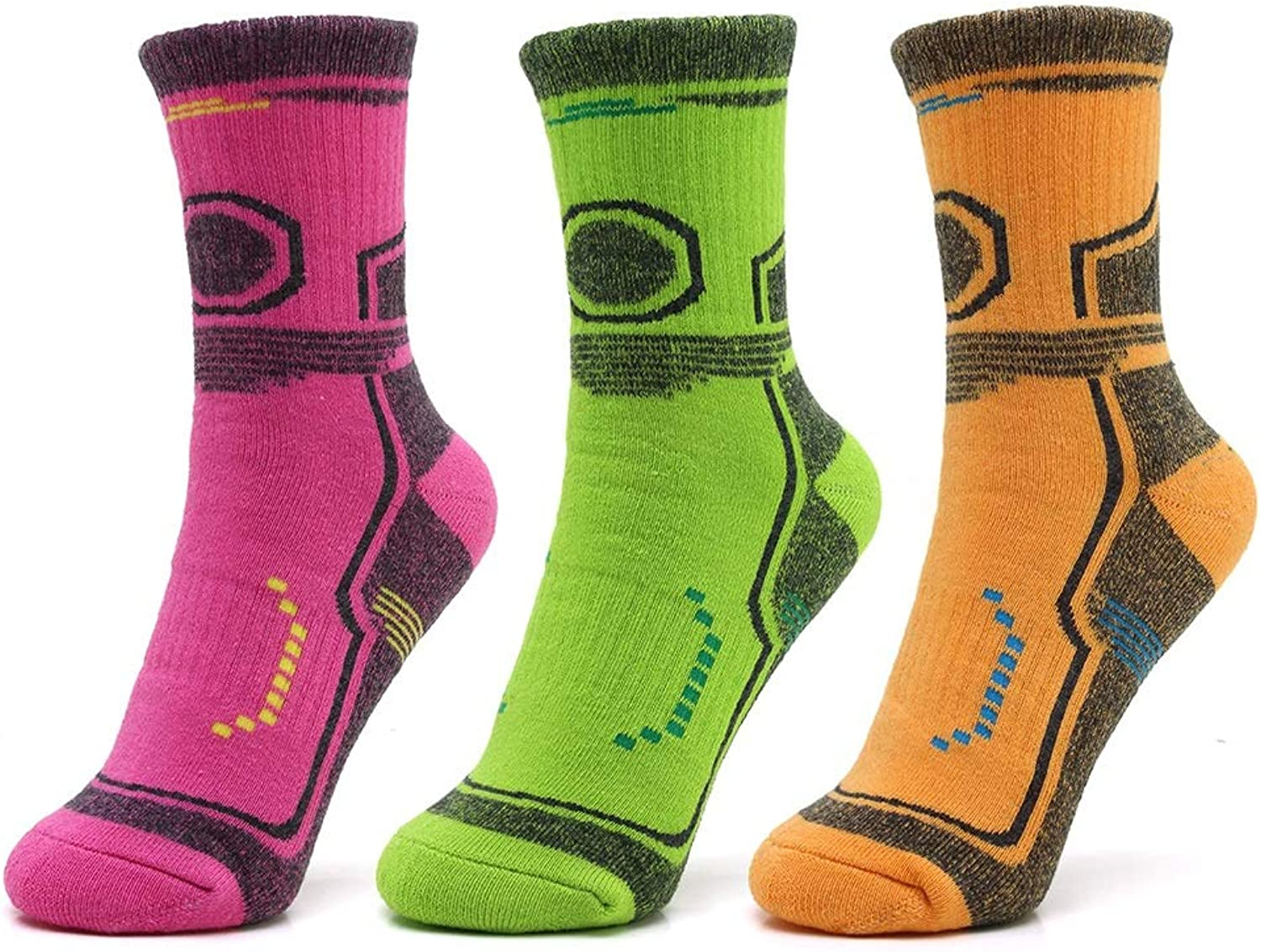 Sports Socks Compression Socks Men's and Women's Best Best Best Running Sports (3 Pairs) Cotton Moisture Wicking Socks (color   Red and Green orange, Size   M) 3889bc