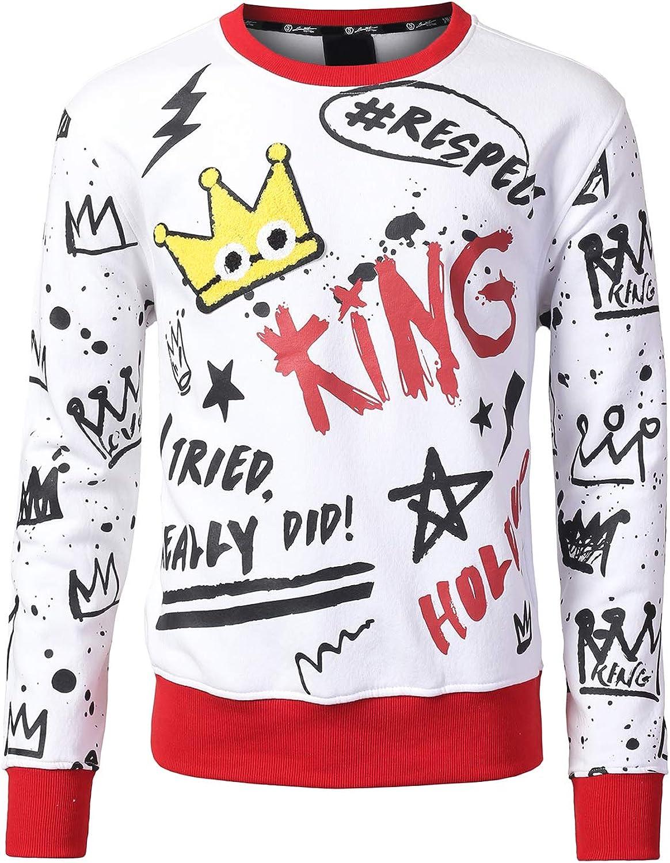 URBANCREWS Mens Hipster Hip Hop Long Sleeve Pullover Hoodie Shirt