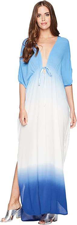 Dip-Dyed Crinkle Gauze Ashley Maxi Caftan
