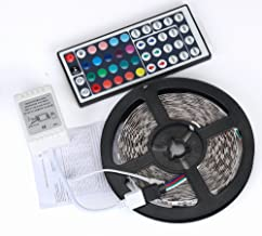 5M 3528 RGB LED Strip Lights 12V DC 8 Light Patterns SMD Lights with 44 Key Remote Control Fairy String Lights for Bedroom Living Room TV(Multi-Colored) Redvive