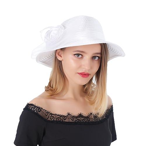 cd15e6688ec Dantiya Women s Organza Wide Brim Floral Ribbon Kentucky Derby Church Dress  Sun Hat