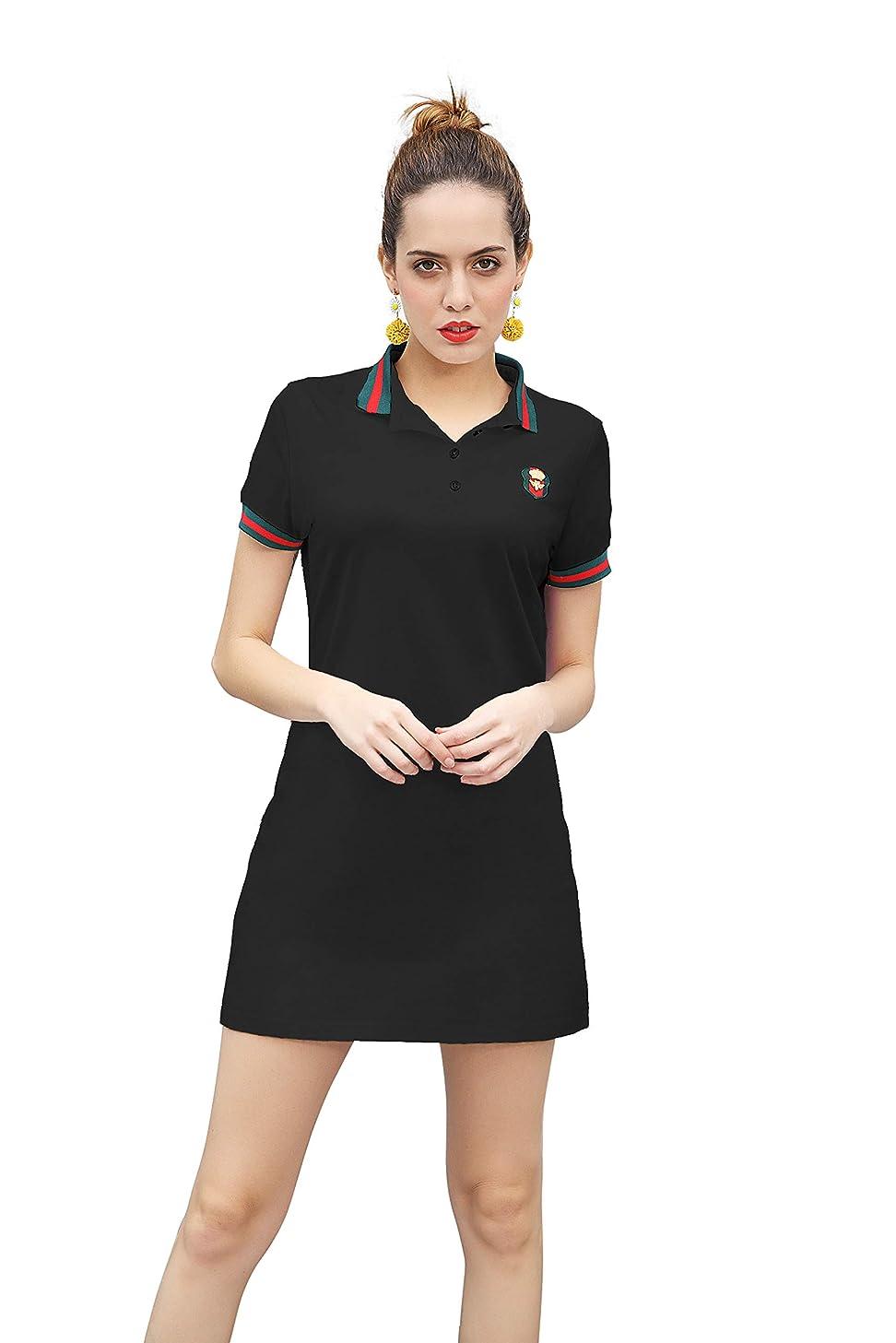 ZHIJINGBIANWEI Women's Casual Polo Dress Embroidery Badge Stretch Cotton Mini Short Sleeve Polo Shirt Golf Shirt