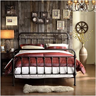 TRIBECCA home Wrought Iron Bed Frame Dark Bronze Metal Queen Size USA Vintage Look Shabby Chic French Country (Queen)
