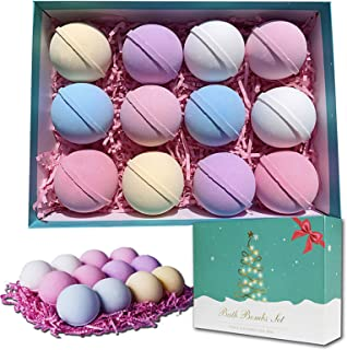 Bath Bombs, 12 Packs Bath Bomb Gift Set with Natural Essential Oils, Fizzies Body Moisturize, Perfect for Bubble & Spa Bat...