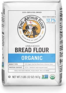 King Arthur Flour, 100% Organic Bread Flour, 2 Pound (Pack of 12)