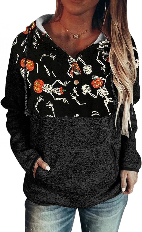 AODONG Women's Halloween Printed Long Sleeve Tunics Tops Casual Loose Elegant Hoodies Sweatshirts Pullover with Pocket