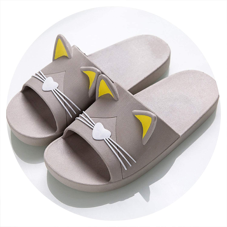 I Need-You Summer Women Slippers Cute Cartoon Cat Indoor Bathroom Animal Slipper Couples Slides Designer Flip Flops Soft shoes T1808017B,Men1,42