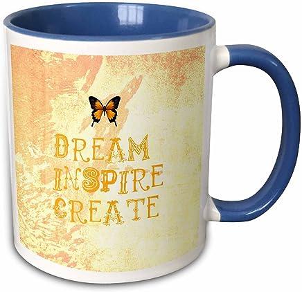 """3dRose mug _ 30471_ 6"""" amarillo Tie Dye Dream Inspire crear mariposa ley de atracción """"taza de dos tonos de azul, 311.8gram, color azul y blanco"""
