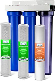 iSpring Whole House 3-Stage Water Filter System with Oversized Fine Sediment and Double Premium Carbon Block, WCB32C