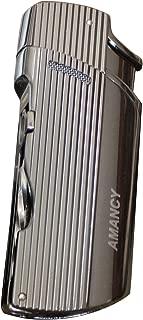 AMANCY Classy 2 Jet Torch Blue Flames Refillable Butane Metal Cigar Lighter w/Cigar Draw Enhancer Tool & Nubber