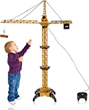 WolVol 50 inch Tall Wired Remote Control Crawler Crane Toy for Boys, Log & Bucket Lift Up Construction Activity Playset, with Working Tower Light - Adjustable Height