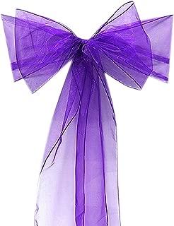 10 Organza Stuhl Band Schleife für Cover Bankett-Hochzeit Party Dekoration Violett