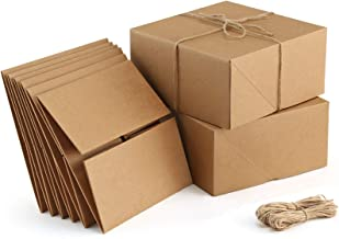 ValBox Premium Gift Boxes 10 Pack 8 x 8 x 4 Brown Paper Gift Boxes with 20 Meters Hemp Rope for Christmas Gifts, Bridesmai...